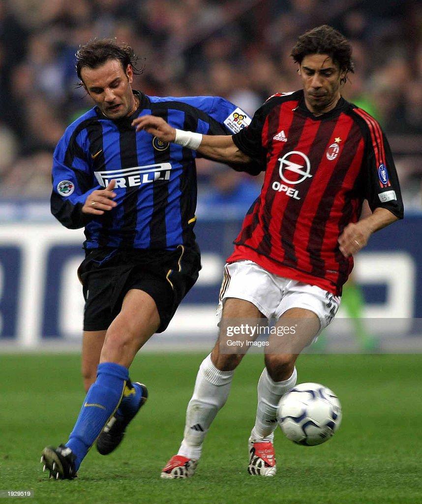 Cristiano Zanetti of Inter Milan and Manuel Rui Costa of AC Milan