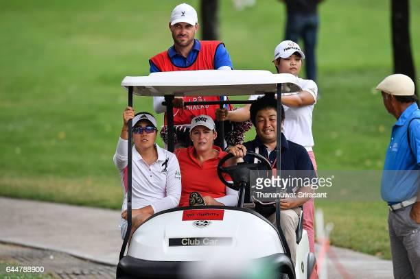 Cristie Kerr Danielle Kang of United States and Haru Nomura of Japan seats on club car during the Honda LPGA Thailand at Siam Country Club on...