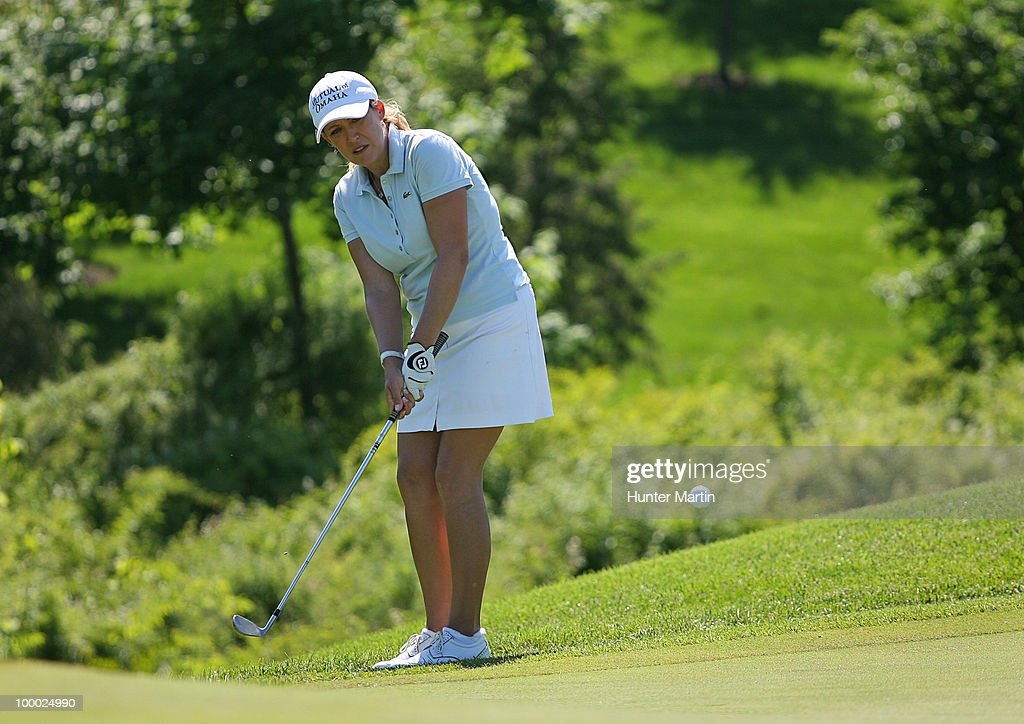Cristie Kerr hits her third shot on the 14th hole during the first round of the Sybase Match Play Championship at Hamilton Farm Golf Club on May 20, 2010 in Gladstone, New Jersey.