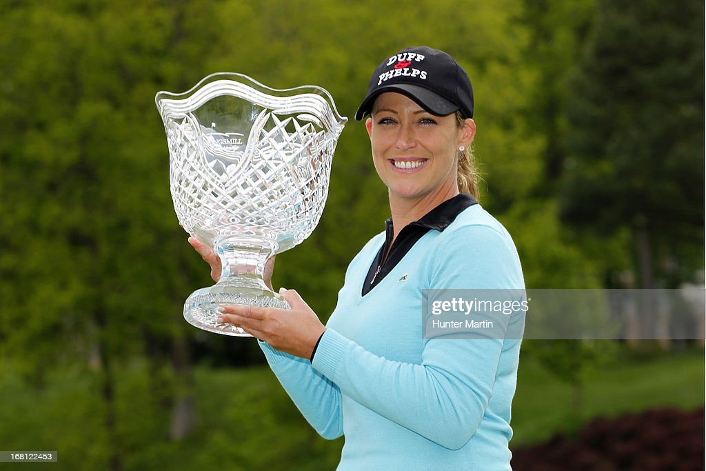 <a gi-track='captionPersonalityLinkClicked' href=/galleries/search?phrase=Cristie+Kerr&family=editorial&specificpeople=213495 ng-click='$event.stopPropagation()'>Cristie Kerr</a> holds the championship trophy after winning the Kingsmill Championship at Kingsmill Resort on May 5, 2013 in Williamsburg, Virginia.