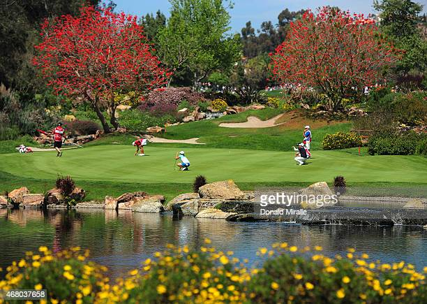 Cristie Kerr Jennifer Song and Se Ri Pak of South Korea on the 3rd green during Final Round of the LPGA KIA Classic at the Aviara Golf Club on March...