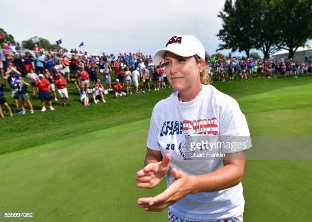 Cristie Kerr of Team USA applauds the fans after the final day singles matches of The Solheim Cup at Des Moines Golf and Country Club on August 20...