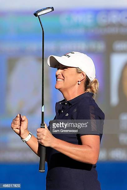 Cristie Kerr of the United States celebrates her win on the eighteenth hole during the final round of the CME Group Tour Championship at Tiburon Golf...