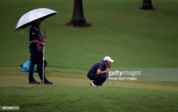 Cristie Kerr of the United States lines up a putt on the first hole during day one of Swinging Skirts LPGA Taiwan Championship on October 19 2017 in...