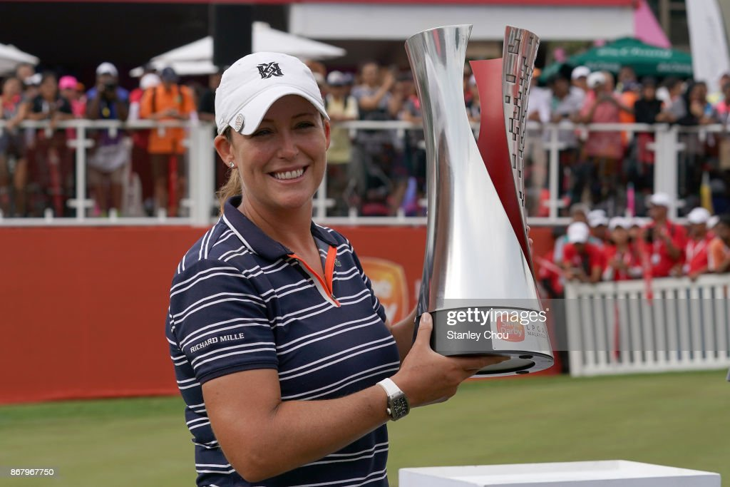 Cristie Kerr of the United States poses with the Sime Darby LPGA trophy after she won it by 15 under 269 during day four of the Sime Darby LPGA Malaysia at TPC Kuala Lumpur East Course on October 29, 2017 in Kuala Lumpur, Malaysia.