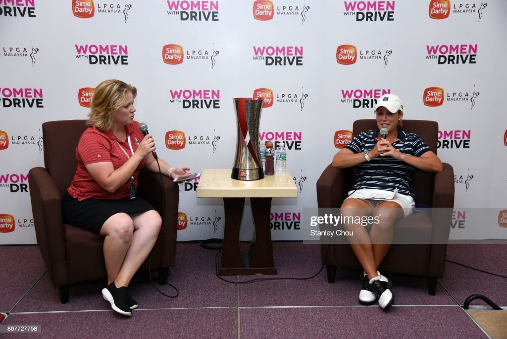 Cristie Kerr of the United States speaks to Christina Lance, Senior Manager of Tour Media of the LPGA Tour during hte press conference during day four of the Sime Darby LPGA Malaysia at TPC Kuala Lumpur East Course on October 29, 2017 in Kuala Lumpur, Malaysia.