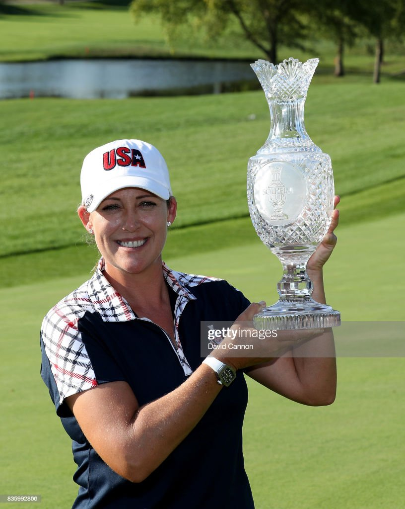 Cristie Kerr of the United States Team holds the Solheim Cup after the closing ceremony during the final day singles matches in the 2017 Solheim Cup at the Des Moines Golf Country Club on August 20, 2017 in West Des Moines, Iowa.