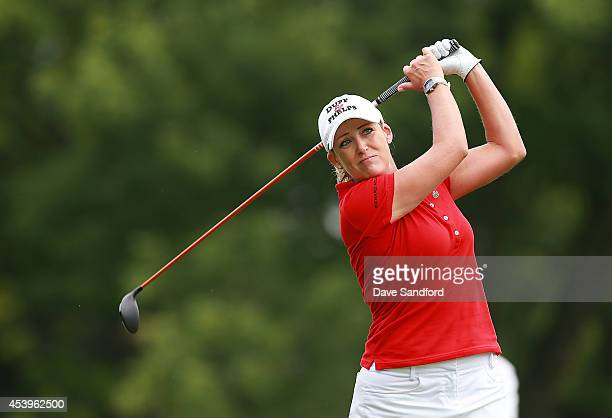 Cristie Kerr of United States hits her tee shot on the ninth hole during the second round of the LPGA Canadian Pacific Women's Open at the London...
