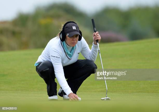 Cristie Kerr of USA looks over her putt at the 10th hole during the first day of the Aberdeen Asset Management Ladies Scottish Open at Dundonald...
