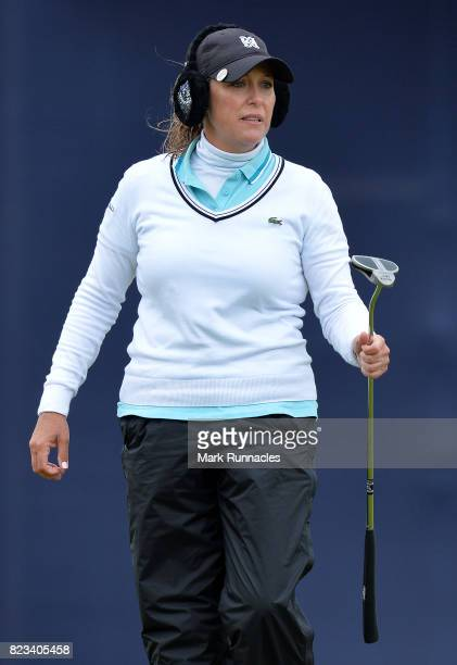 Cristie Kerr of USA looks over her putt at the 9th hole during the first day of the Aberdeen Asset Management Ladies Scottish Open at Dundonald Links...