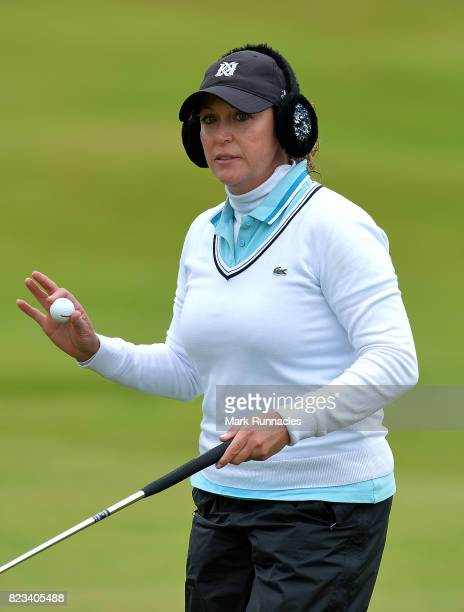 Cristie Kerr of USA reacts after sinking a putt at the 9th green during the first day of the Aberdeen Asset Management Ladies Scottish Open at...