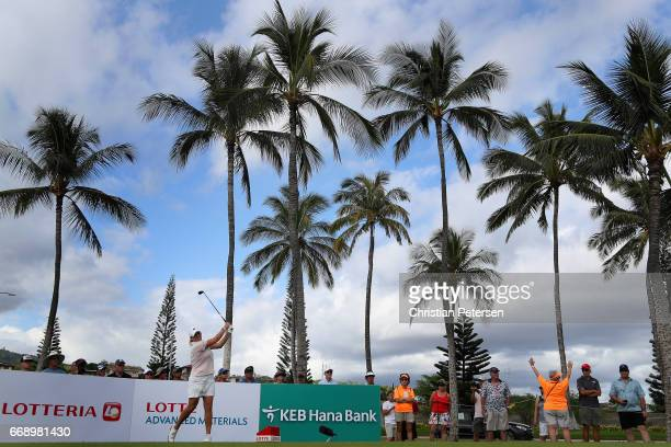 Cristie Kerr plays a tee shot on the 16th hole during the final round of the LPGA LOTTE Championship Presented By Hershey at Ko Olina Golf Club on...
