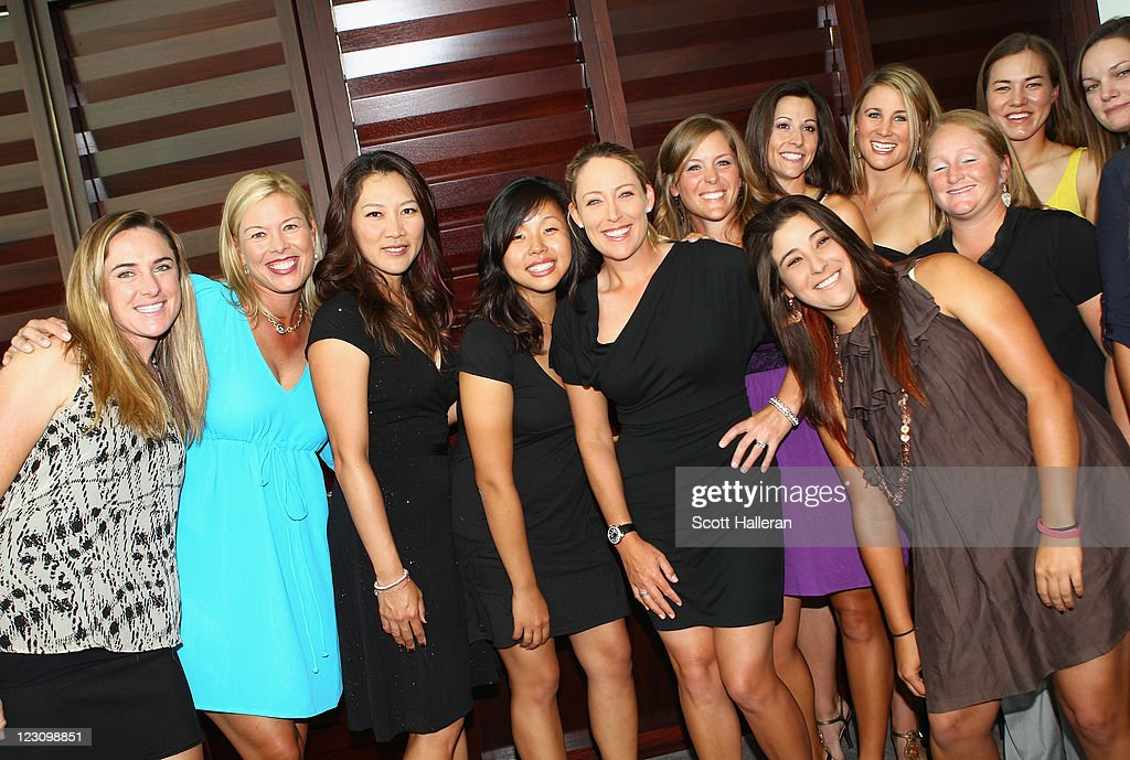 <a gi-track='captionPersonalityLinkClicked' href=/galleries/search?phrase=Cristie+Kerr&family=editorial&specificpeople=213495 ng-click='$event.stopPropagation()'>Cristie Kerr</a> poses with fellow LPGA players after the Birdies for Breast Cancer Foundation Liberty Cup at Liberty National Golf Club on August 30, 2011 in Jersey City, New Jersey.
