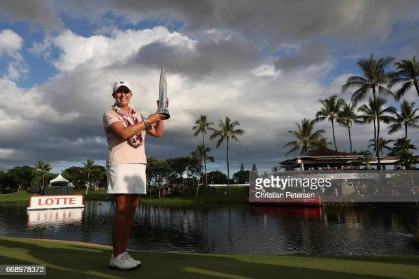 Cristie Kerr poses with the trophy after winning in the final round of the LPGA LOTTE Championship Presented By Hershey at Ko Olina Golf Club on...