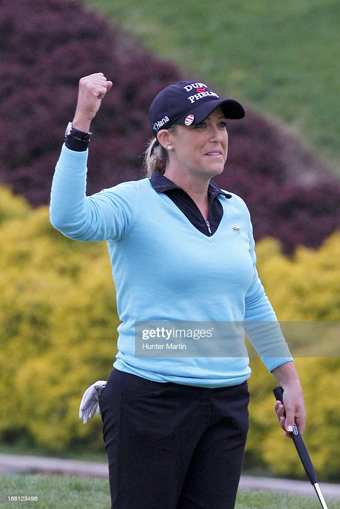 <a gi-track='captionPersonalityLinkClicked' href=/galleries/search?phrase=Cristie+Kerr&family=editorial&specificpeople=213495 ng-click='$event.stopPropagation()'>Cristie Kerr</a> reacts on the second playoff hole after winning the Kingsmill Championship at Kingsmill Resort on May 5, 2013 in Williamsburg, Virginia.