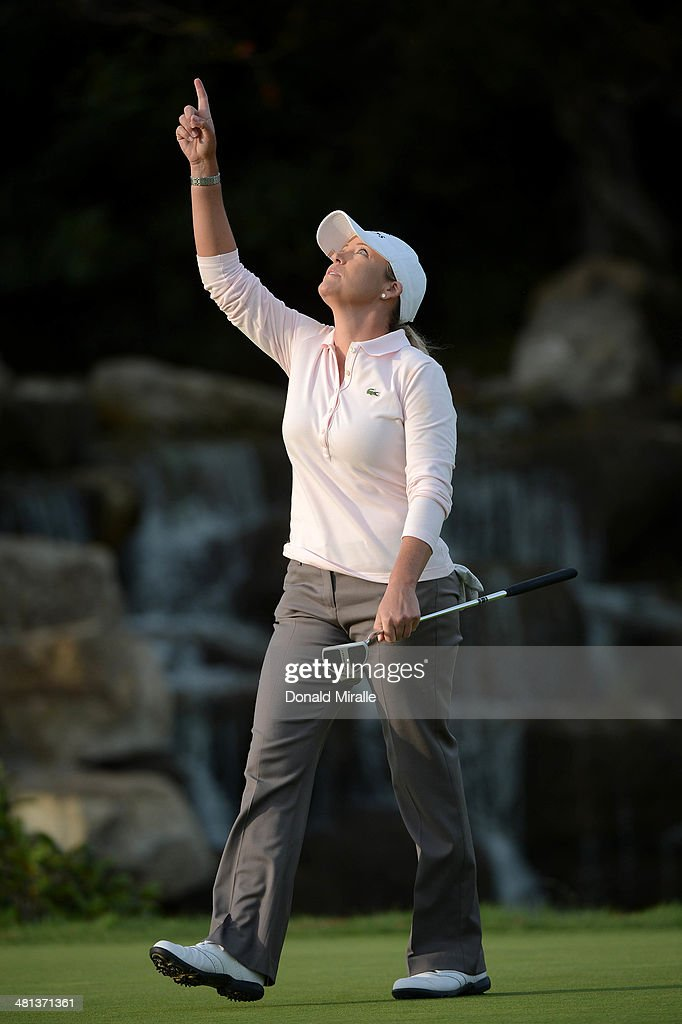 Cristie Kerr reacts to a par save on the 18th hole during the third round of the KIA Classic at the Park Hyatt Aviara Resort on March 29, 2014 in Carlsbad, California