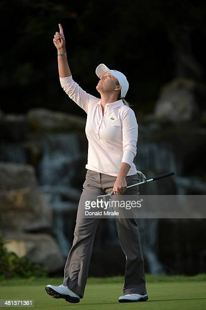 Cristie Kerr reacts to a par save on the 18th hole during the third round of the KIA Classic at the Park Hyatt Aviara Resort on March 29 2014 in...
