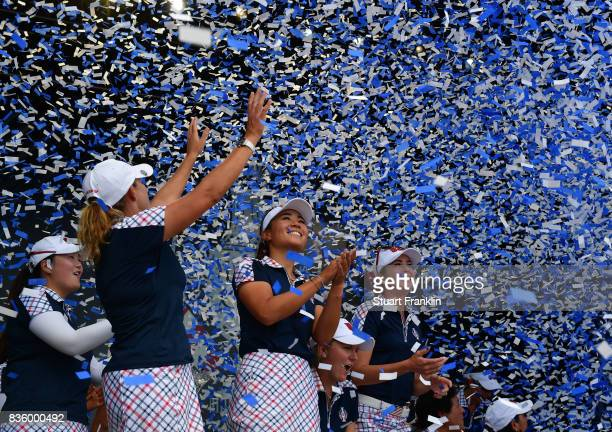 Cristie KerrDanielle Kang and Paula Creamerof Team USA celebrate during the closing ceremony after the final day singles matches of The Solheim Cup...