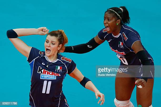 Cristina Chirichella and Miriam Sylla of Italy celebrate a point during the match against Serbia on day 2 the FIVB Volleyball World Grand Prix at...
