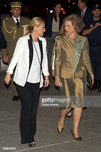 Cristina Cifuentes and Queen Sofia of Spain attend the Ainhoa Arteta Concert at El Canal Theater on October 9 2012 in Madrid Spain