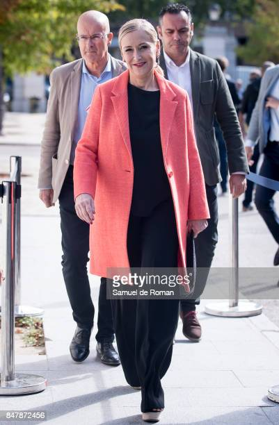 Cristina Cifuentes arrives to the Funeral Tribute For Angel Nieto in Madrid on September 16 2017 in Madrid Spain