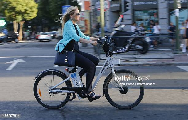 Cristina Cifuentes is seen riding on bike on September 1 2015 in Madrid Spain
