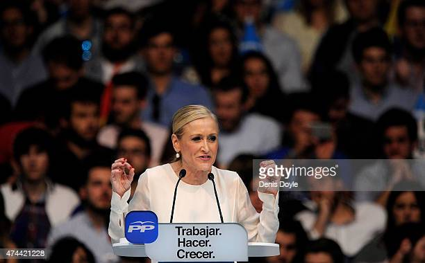 Cristina Cifuentes Popular Party candidate for President of Madrid's Regional government speaks during an election rally on May 22 2015 in Madrid...