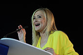 Cristina Cifuentes President of the Regional Government of Madrid addresses Popular Party surrorters applaud during the closing rally ahead of...