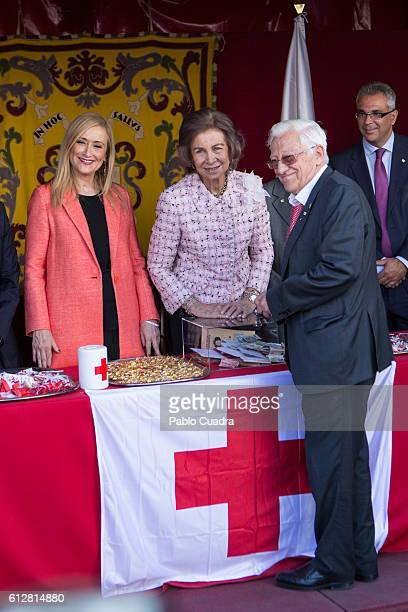 Cristina Cifuentes Queen Sofia and Padre Angel attend the Red Cross Fundraising day event on October 5 2016 in Madrid Spain