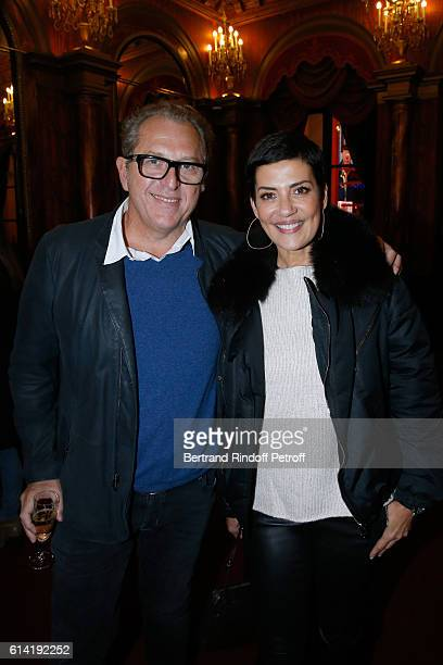 Cristina Cordula and her companion Frederic Cassin attend the 'A Droite A Gauche' Theater Play at Theatre des Varietes on October 12 2016 in Paris...