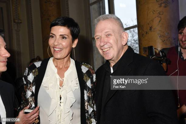 Cristina Cordula and Jean Paul Gaultier attend 'France By Jean Paul Gaultier' Limited Coin Collection Press Preview At La Monnaie de Paris on March...