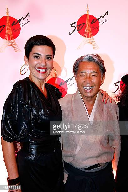 Cristina Cordula and Kenzo Takada attend the Kenzo Takada's 50 Years Of Life in Paris Celebration at Restaurant Le Pre Catelan on September 17 2015...