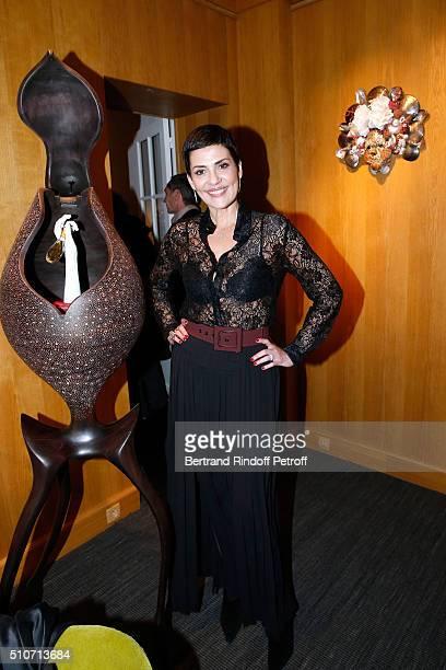 Cristina Cordula attends Arielle Dombasle presents her Perfume 'Le secret d'Arielle' at Galerie Pierre Passebon on February 16 2016 in Paris France
