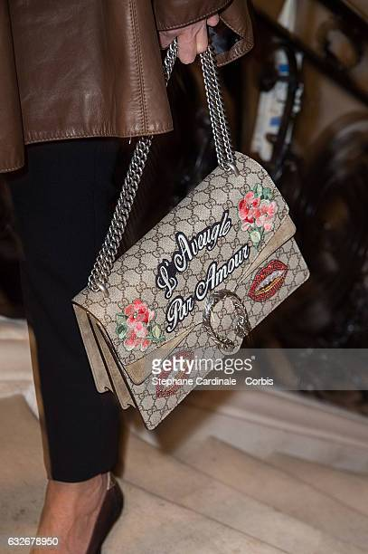 Cristina Cordula handbag detail attends the Jean Paul Gaultier Haute Couture Spring Summer 2017 show as part of Paris Fashion Week on January 25 2017...