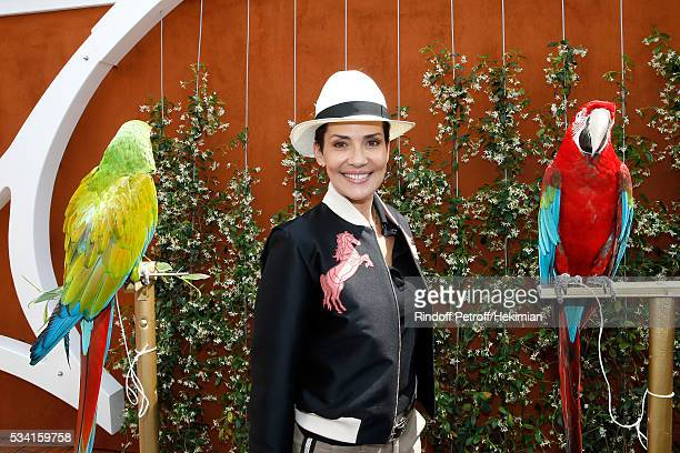 Cristina Cordula standing between Arthur and Zoe attend the 2016 French Tennis Open Day Four at Roland Garros on May 25 2016 in Paris France