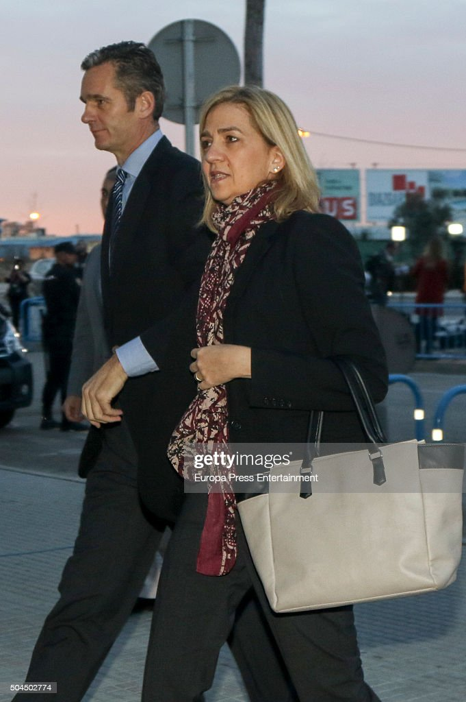 Cristina de Borbon and her husband Inaki Urdangarin arrive at the courtroom at the Balearic School of Public Administration for summary proceedings on January 11, 2016 in Palma de Mallorca, Spain. Princess Cristina of Spain, sister of King Felipe VI of Spain, faces a tax fraud trial over alleged links to business dealings of her husband, Inaki Urdangarin Princess Cristina co-owned with her husband a company called Aizoon alleged to be one of the companies used by the non-profit foundation named 'Instituto NOOS', headed by Inaki Urdangarin to misuse 5.6 million euro of public funds which were allocated to organise sports and tourism events.