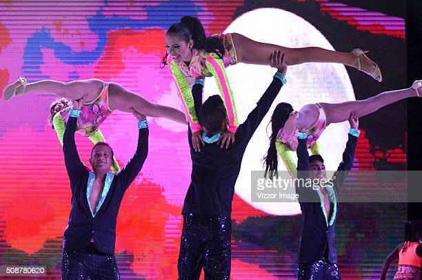 Cristina Felfle the Queen of the Carnival of Barranquilla 2016 performs at the stage with a design of Alfredo Barraza called 'Macondo' in honor of...