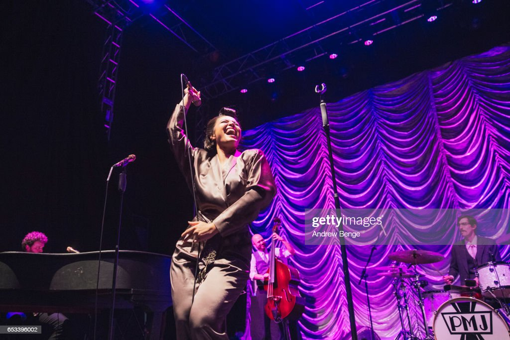 Cristina Gatti of Scott Bradlee's Postmodern Jukebox perform at O2 Academy Leeds on March 14, 2017 in Leeds, United Kingdom.