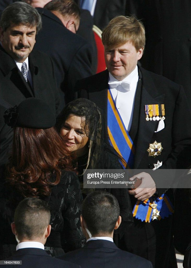Cristina Kirchner, Princess Maxima of Netherlands and Prince Willem-Alexander of Netherlands attend the Inauguration Mass of Pope Francis in St. Peter's Square for his Inauguration Mass on March 19, 2013 in Vatican City, Vatican. The inauguration of Pope Francis is being held in front of an expected crowd of up to one million pilgrims and faithful who have crowded into St Peter's Square and the surrounding streets to see the former Cardinal of Buenos Aires officially take up his position. Pope Francis' inauguration takes place in front his cardinals, spiritual leaders as well as heads of states from around the world and he will now lead an estimated 1.3 billion Catholics.