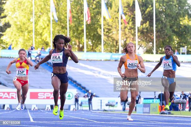 Cristina Lara of Spain Carole Zahi of France Naomi Sedney of Netherlands and Audrey Alloh of Italy compete in the Women's 100m heat 2 during day 1 of...