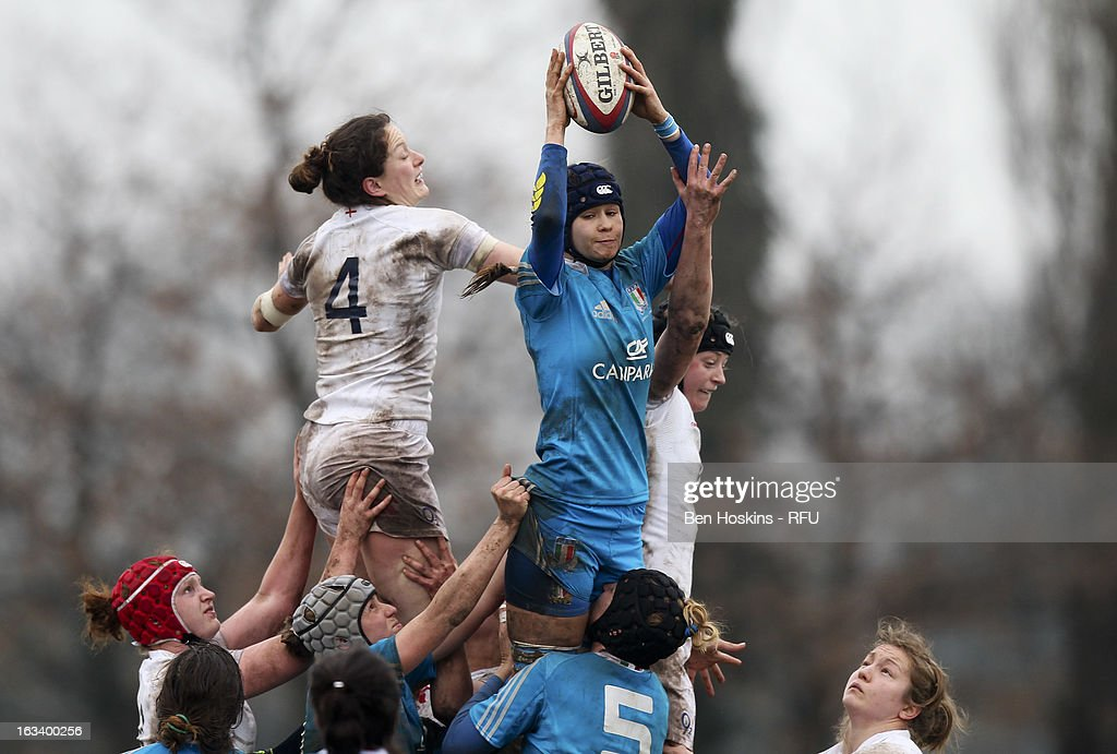 Cristina Molic of Italy claims line out ball during the Women's RBS Six Nations match between England and Italy at Esher Rugby Club on March 09, 2013 in Esher, England.