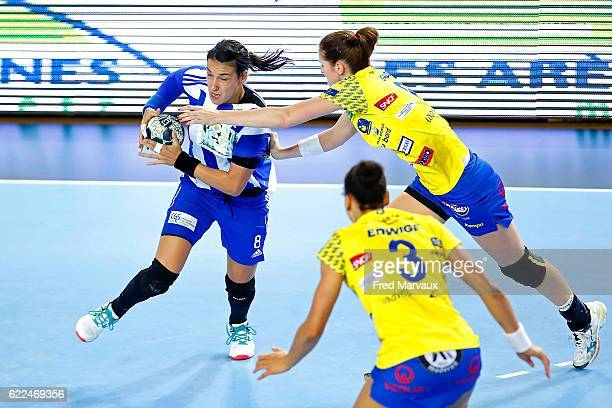 Cristina Neagu of Podgorica and Ana Gros of Metz during the EHF Womens Champions League match between Metz and Podgorica Buducnost November 11 2016...