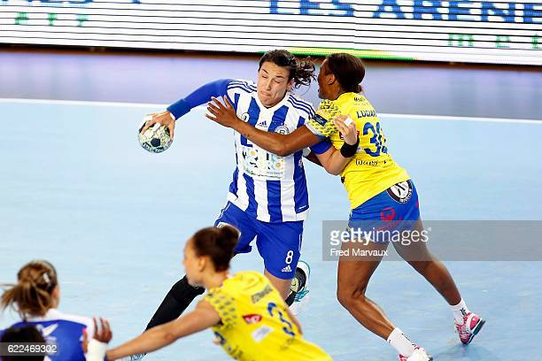 Cristina Neagu of Podgorica and Jurswailly Luciano of Metz during the EHF Womens Champions League match between Metz and Podgorica Buducnost November...