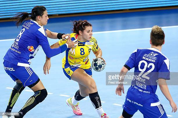 Cristina Neagu of Podgorica and Laura Flippes of Metz during the EHF Womens Champions League match between Metz and Podgorica Buducnost November 11...