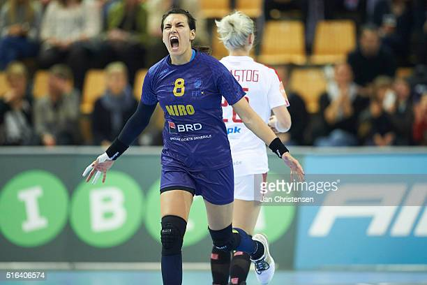 Cristina Neagu of Romania celebrates after goal during the IHF 2016 Women's Olympic Qualification Tournament match between Denmark and Romania at...