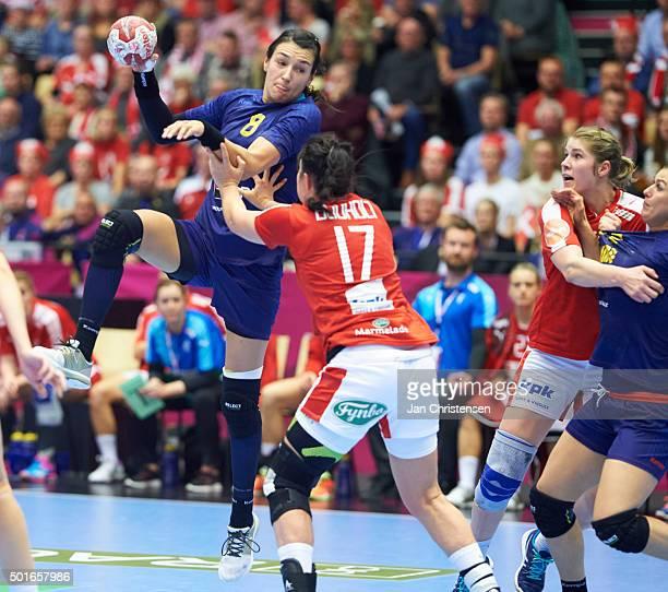 Cristina Neagu of Romania in action during the 22nd IHF Women's Handball World Championship Quarter Final match between Denmark and Romania in Jyske...