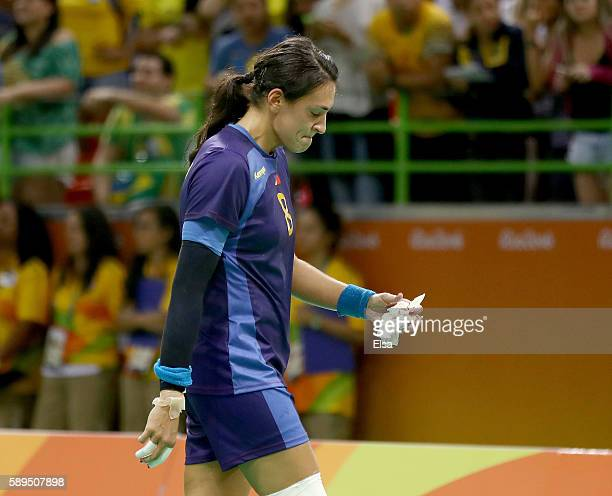 Cristina Neagu of Romania walks off the court after the loss to Norway on Day 9 of the Rio 2016 Olympic Games at the Future Arena on August 14 2016...
