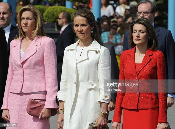 Cristina of Spain Elena of Spain and Princess Letizia of Spain attend the 'Bando De Los Alcaldes De Mostoles' bicentennial commemoration on May 2...