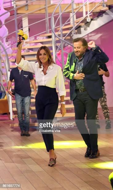 Cristina Parodi and Christian De Sica attend Domenica In TV Show on October 15 2017 in Rome Italy