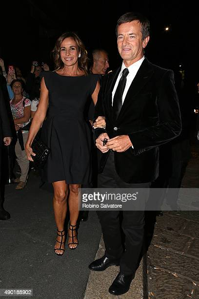 Cristina Parodi and Giorgio Gori arrive at amfAR Milano 2015 at La Permanente on September 26 2015 in Milan Italy